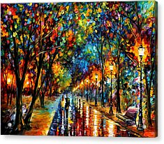 When Dreams Come True - Palette Knlfe Landscape Park Oil Painting On Canvas By Leonid Afremov Acrylic Print by Leonid Afremov