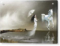 Weather Acrylic Print featuring the painting When It Snows In Scarborough by Susi Galloway