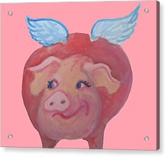 When Pigs Fly Acrylic Print by Cherie Sexsmith