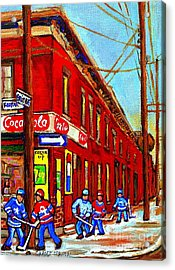When We Were Young - Hockey Game At Piche's - Montreal Memories Of Goosevillage Acrylic Print by Carole Spandau