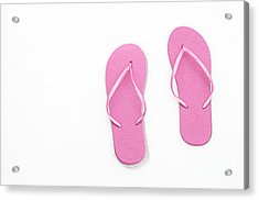 Where On Earth Is Spring - My Pink Flip Flops Are Waiting Acrylic Print by Andee Design