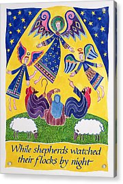 While Shepherds Watched Their Flocks By Night Acrylic Print by Cathy Baxter