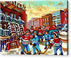 Whimsical Hockey Art Snow Day In Montreal Winter Urban Landscape City Scene Painting Carole Spandau Acrylic Print by Carole Spandau