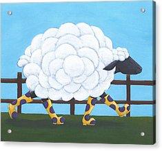 Whimsical Sheep Art Acrylic Print by Christy Beckwith