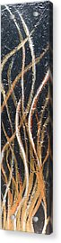 Whispering Reeds Abstract Triptych Paintings Acrylic Print by Holly Anderson