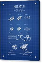 Whistle Patent From 1884 - Blueprint Acrylic Print by Aged Pixel