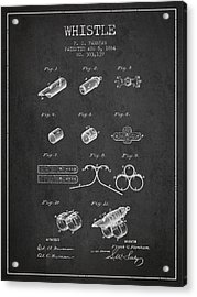 Whistle Patent From 1884 - Charcoal Acrylic Print by Aged Pixel