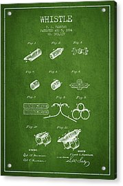 Whistle Patent From 1884 - Green Acrylic Print by Aged Pixel