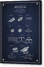 Whistle Patent From 1884 - Navy Blue Acrylic Print by Aged Pixel