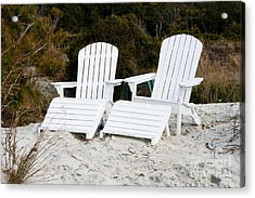 White Adirondack Chairs In The Sand Acrylic Print by Thomas Marchessault