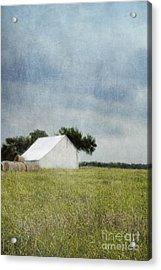 White Barn Acrylic Print by Elena Nosyreva
