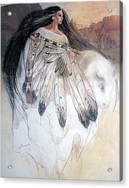 White Buffalo Calf Woman Acrylic Print by Pamela Mccabe