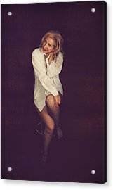 White Button-down Acrylic Print by Laurie Search