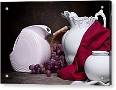 White Ceramic Still Life Acrylic Print by Tom Mc Nemar