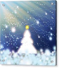 White Christmas Tree Acrylic Print by Atiketta Sangasaeng