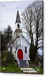 White Church With Red Door Acrylic Print by Elena Nosyreva