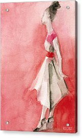 White Dress With Red Belt Fashion Illustration Art Print Acrylic Print by Beverly Brown Prints