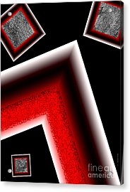 White Edges Geometric Art Acrylic Print by Mario Perez