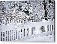 White Fence With Winter Trees Acrylic Print by Elena Elisseeva