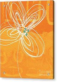 White Flower On Orange Acrylic Print by Linda Woods