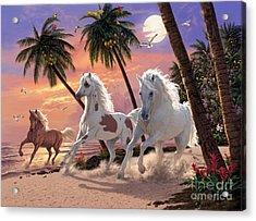 White Horses Acrylic Print by Steve Read