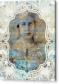 White Lace Acrylic Print by Judy Wood