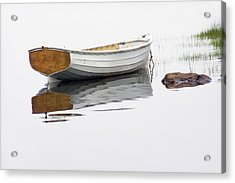 White Maine Boat On A Foggy Morning Acrylic Print by Randall Nyhof