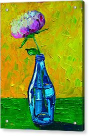White Peony Into A Blue Bottle Acrylic Print by Ana Maria Edulescu