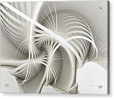 White Ribbons Spiral Acrylic Print by Karin Kuhlmann