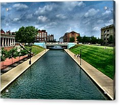 White River Park Canal In Indy Acrylic Print by Julie Dant