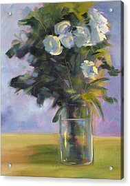 White Roses Acrylic Print by Nancy Merkle