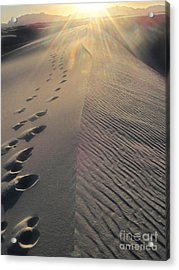 White Sands New Mexico Footsteps In The Sand Acrylic Print by Gregory Dyer