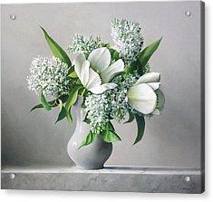 White  Sprintime  Flowers Acrylic Print by Pieter Wagemans