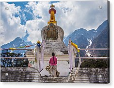 White Stupa At Yumthang Valley In Lachung North Sikkim India Acrylic Print by Nattee Chalermtiragool