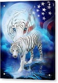White Tiger Moon - Patriotic Acrylic Print by Carol Cavalaris