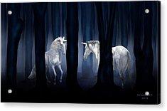 White Unicorns Acrylic Print by Virginia Palomeque