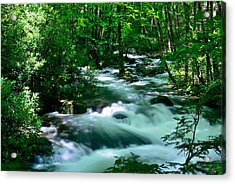 White Water On Little River Acrylic Print by Stefan Carpenter