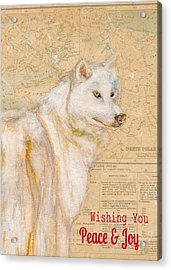 White Winter Wolf Acrylic Print by Andrea LaHue