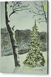 Snow Scenes In Watercolors Acrylic Print featuring the painting Who Sees A Lighted Tree In The Woods by Peter Kundra