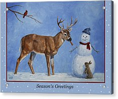 Whose Carrot Seasons Greeting Acrylic Print by Crista Forest