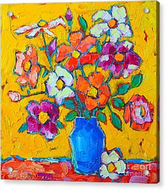 Wild Colorful Roses Acrylic Print by Ana Maria Edulescu