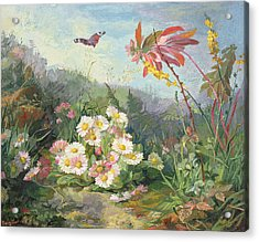 Wild Flowers And Butterfly Acrylic Print by Jean Marie Reignier