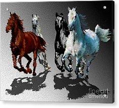 Wild Horses At Gallop Art Acrylic Print by Mario Perez