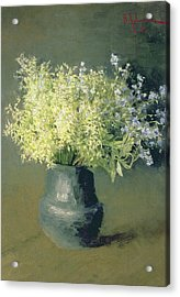 Wild Lilacs And Forget Me Nots Acrylic Print by Isaak Ilyich Levitan