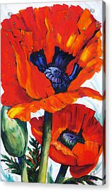 Wild Poppies - Floral Art By Betty Cummings Acrylic Print by Sharon Cummings