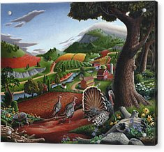 Wild Turkeys Appalachian Thanksgiving Landscape - Childhood Memories - Country Life - Americana Acrylic Print by Walt Curlee