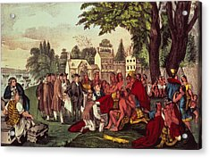 William Penn's Treaty With The Indians Acrylic Print by Currier and Ives