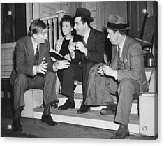 William Saroyan Discusses Play Acrylic Print by Underwood Archives