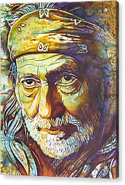 Willie Nelson-funny How Time Slips Away Acrylic Print by Joshua Morton