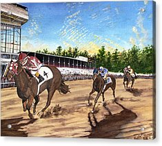 Win Place Show Acrylic Print by Kevin F Heuman